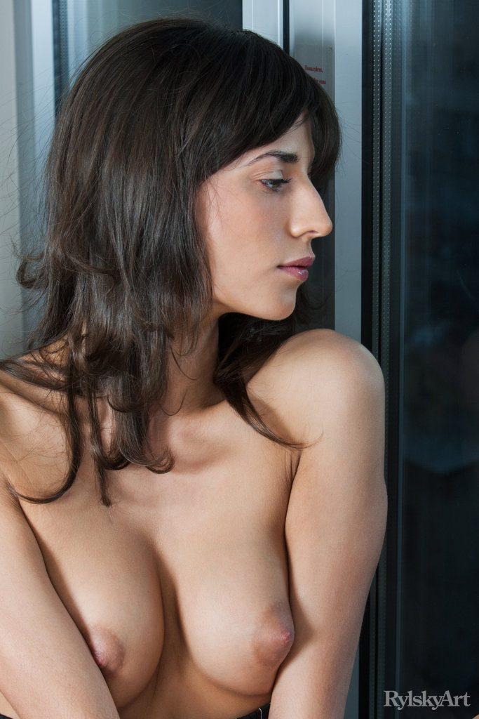 Naked brunette