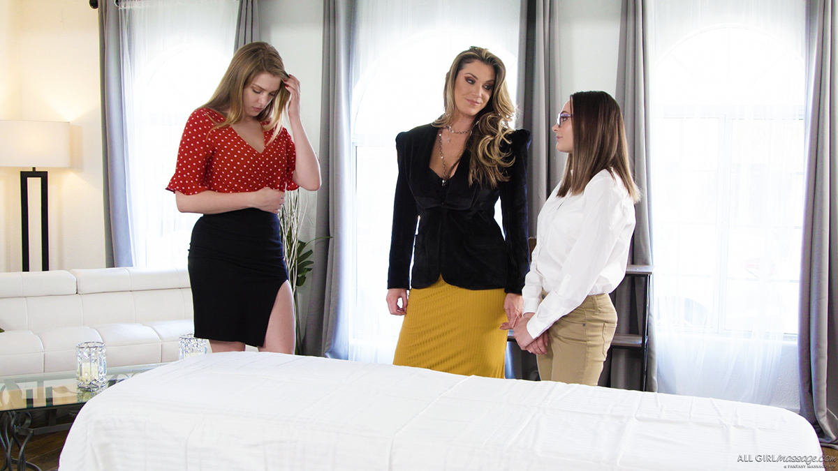 Aften Porn Ends giselle palmer, kayla paige & aften opal massage turns into